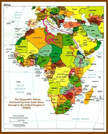 Map of our route through Africa